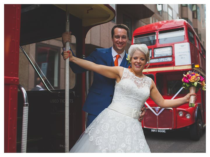 bride groom london bus