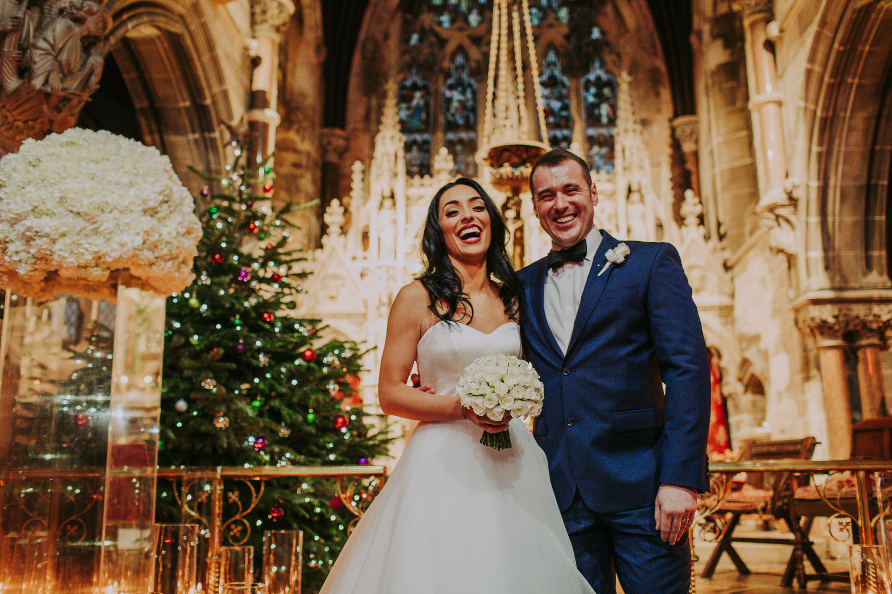 bride and groom christmas at Rudding Park Wedding