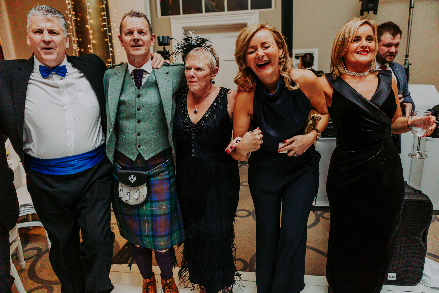 singing waiters and guests at Rudding Park Wedding