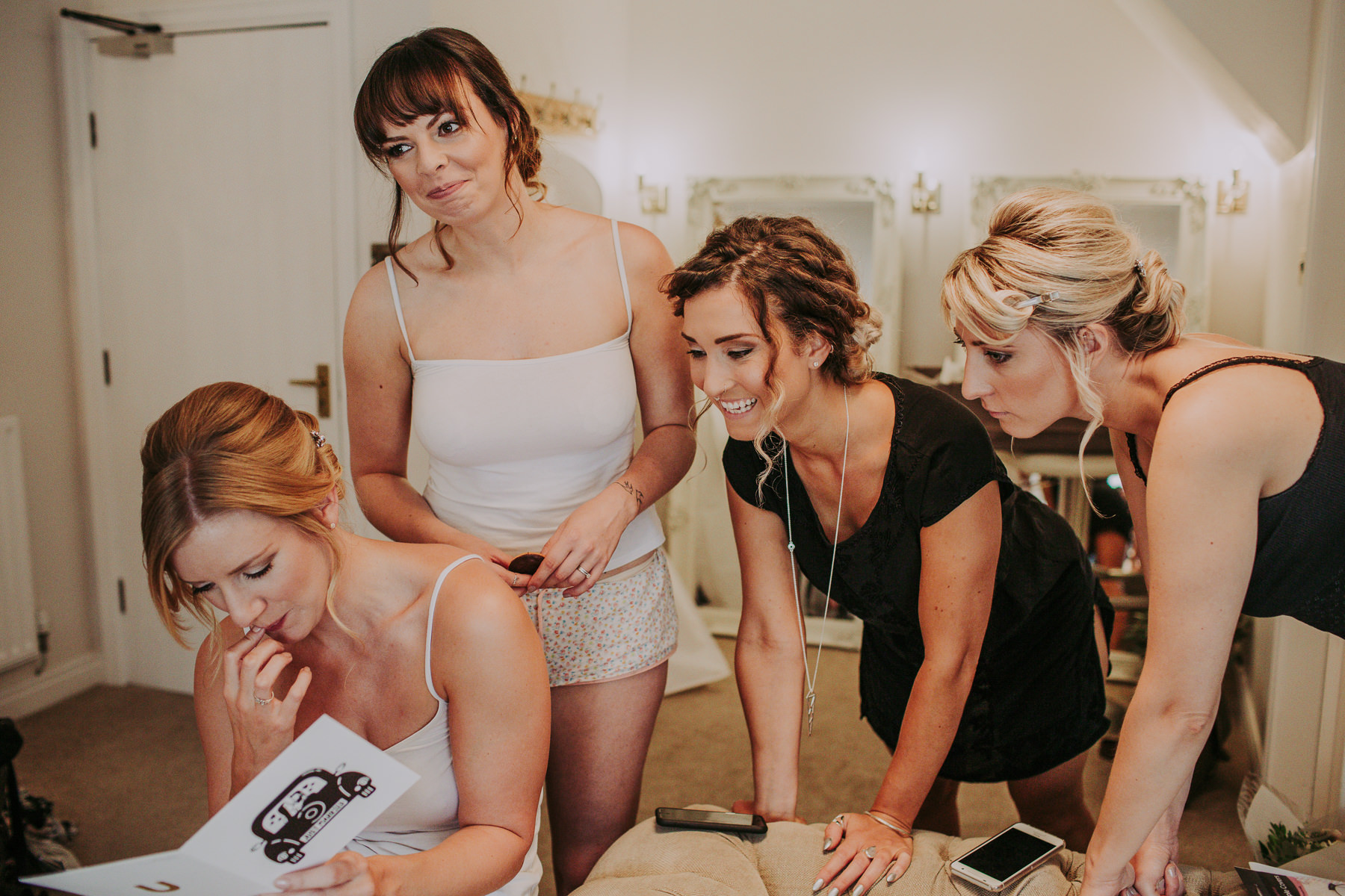 bridesmaids at Sandhole Oak Barn Wedding