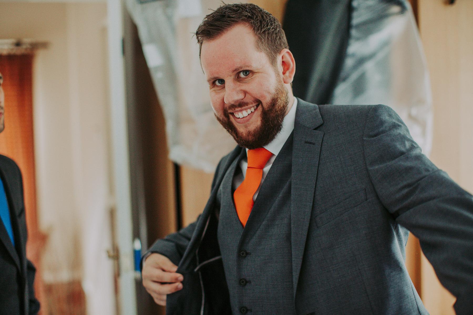groom smiling Yorkshire Sculpture Park Wedding