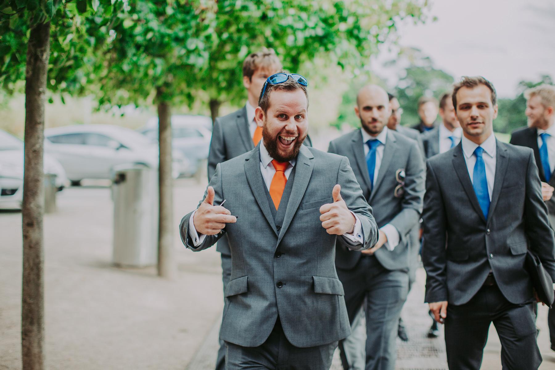 groom at Yorkshire Sculpture Park Wedding