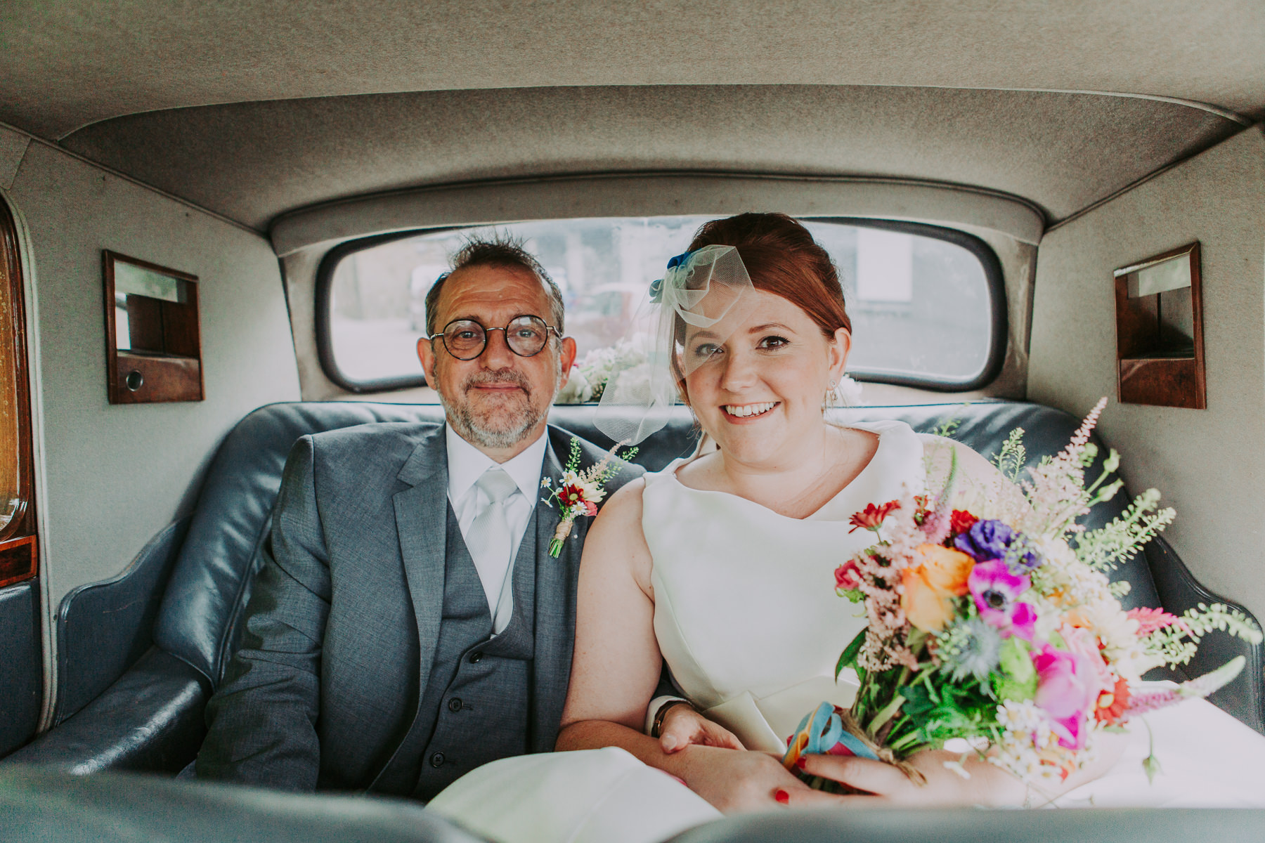 bride and father in wedding car Yorkshire Sculpture Park Wedding
