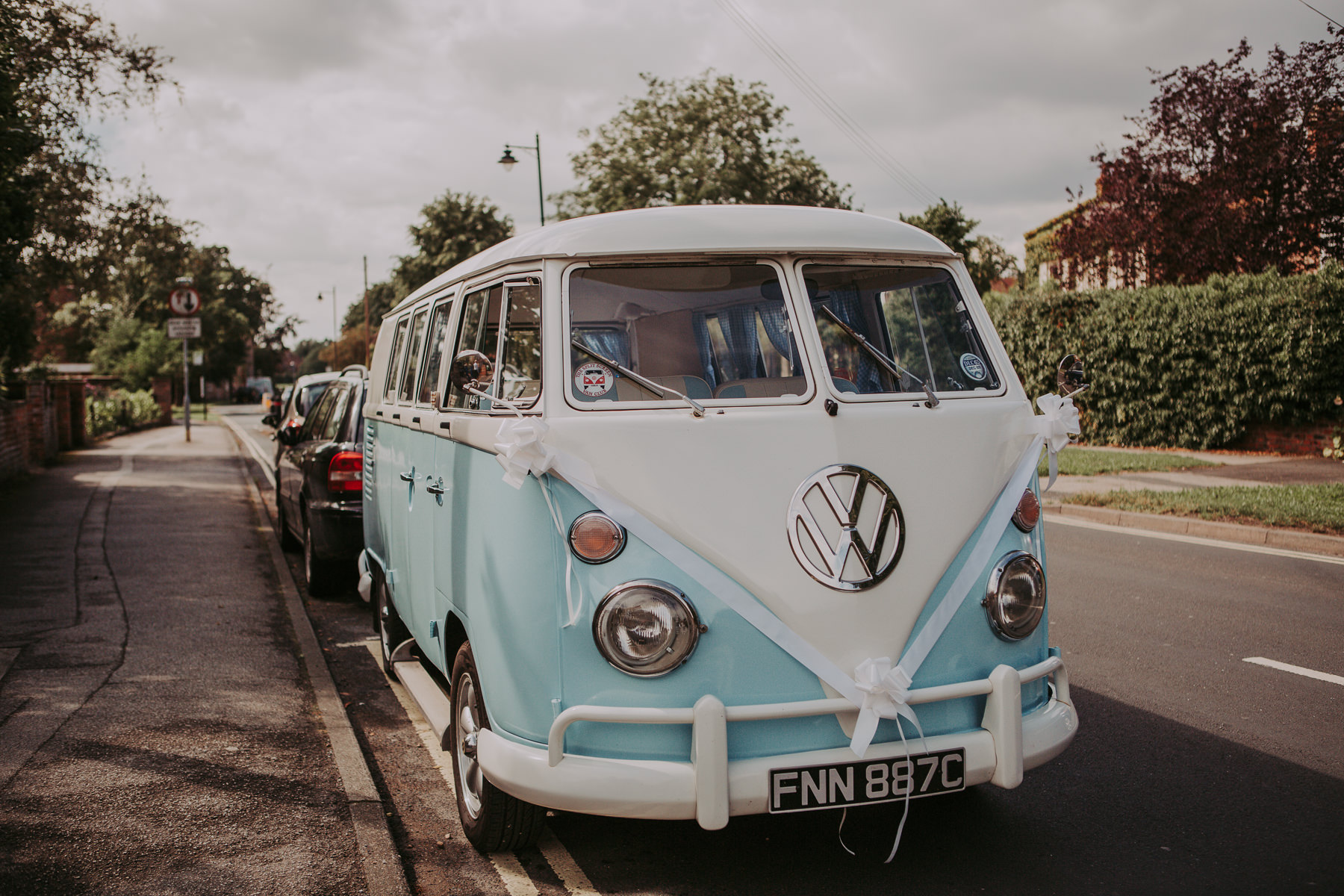 blue vw camper van